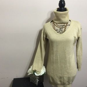 Open turtle neck long sweater